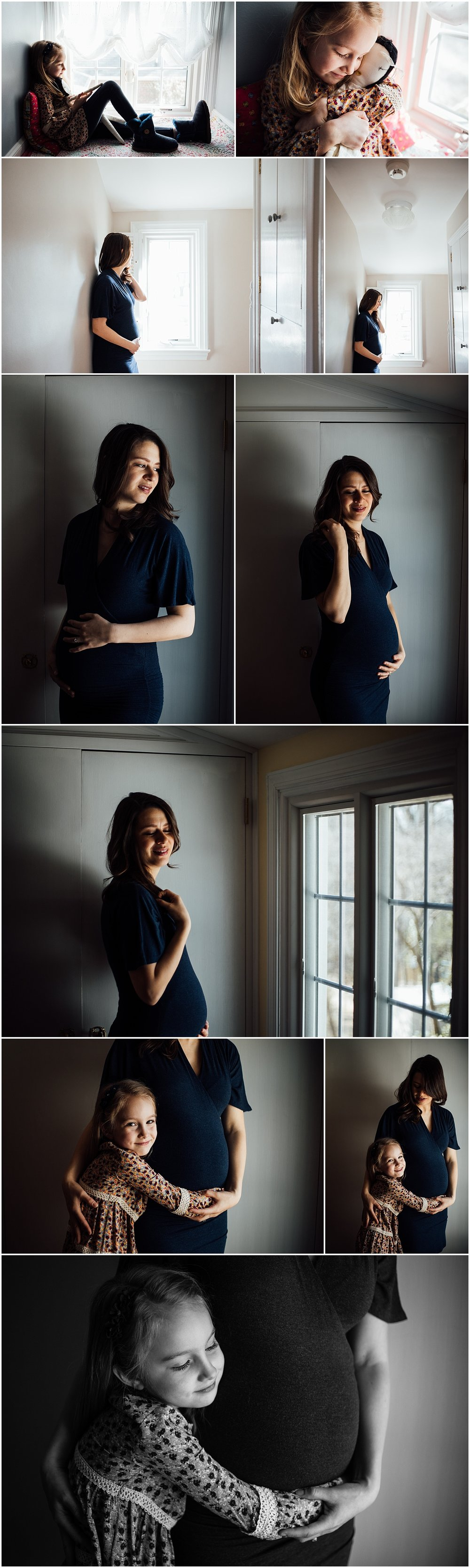 Indoor maternity session with daughter by Fairfax Virginia photographer Rachel K Photo