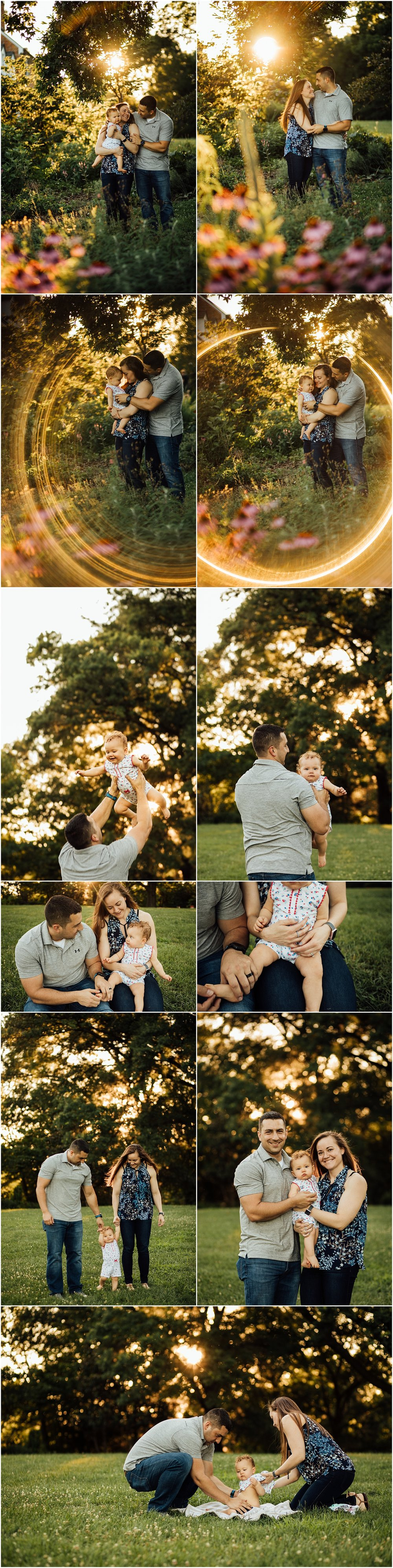 one year old golden hour family session at park by Huntsville Alabama photographer Rachel K Photo