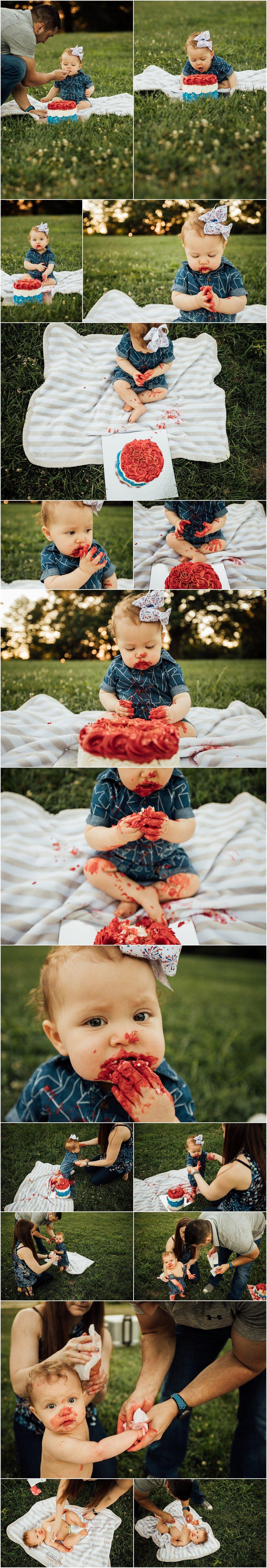 Cake smash and family session at park by Huntsville Alabama photographer Rachel K Photo