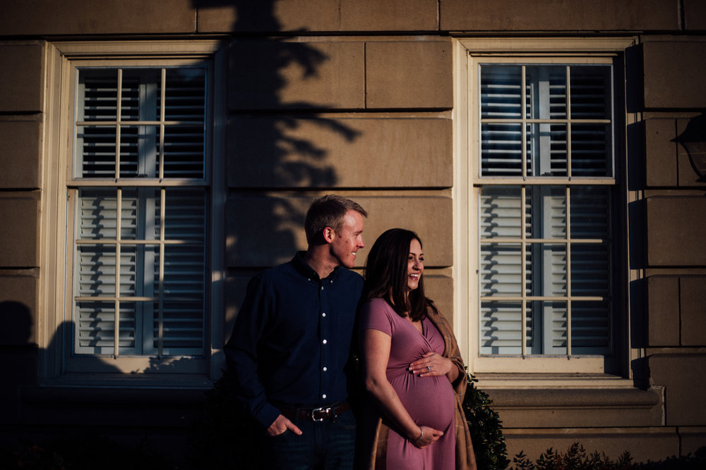 Man and pregnant woman in purple dress by Huntsville and Madison Alabama maternity photographer Rachel K Photo
