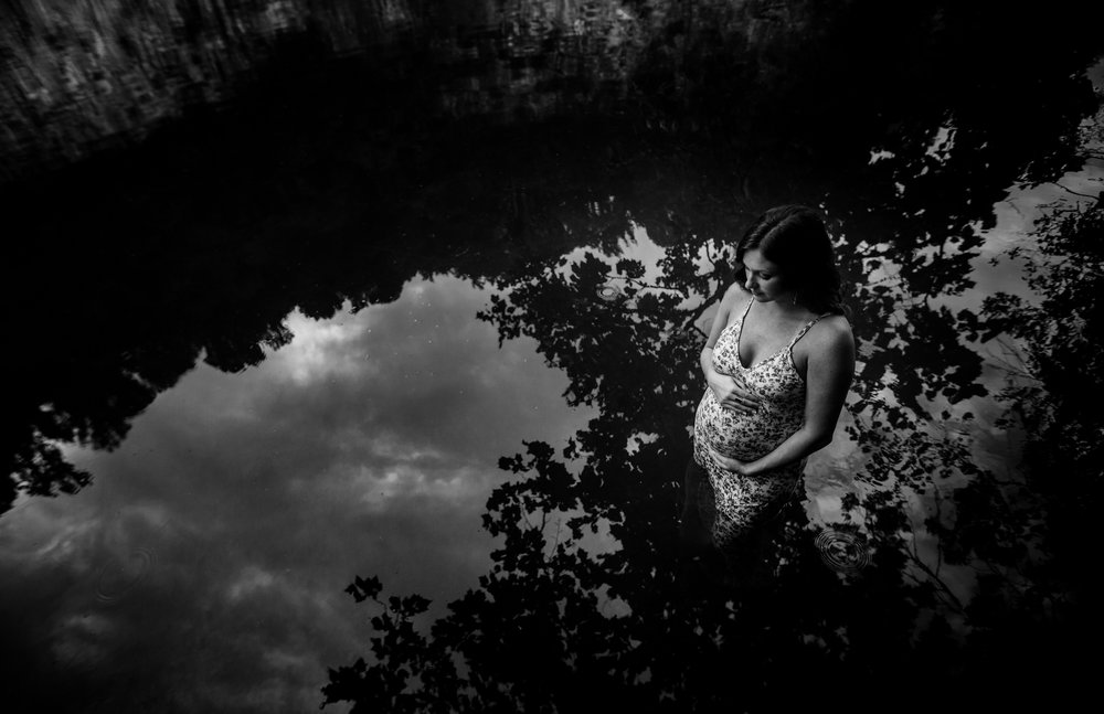 Pregnant woman in water by Huntsville and Madison Alabama maternity photographer Rachel K Photo