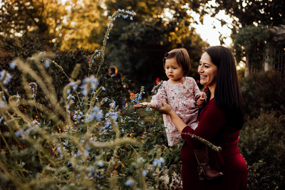 Mom holds toddler looking at butterfly by Madison and Huntsville Alabama family photographer Rachel K Photo