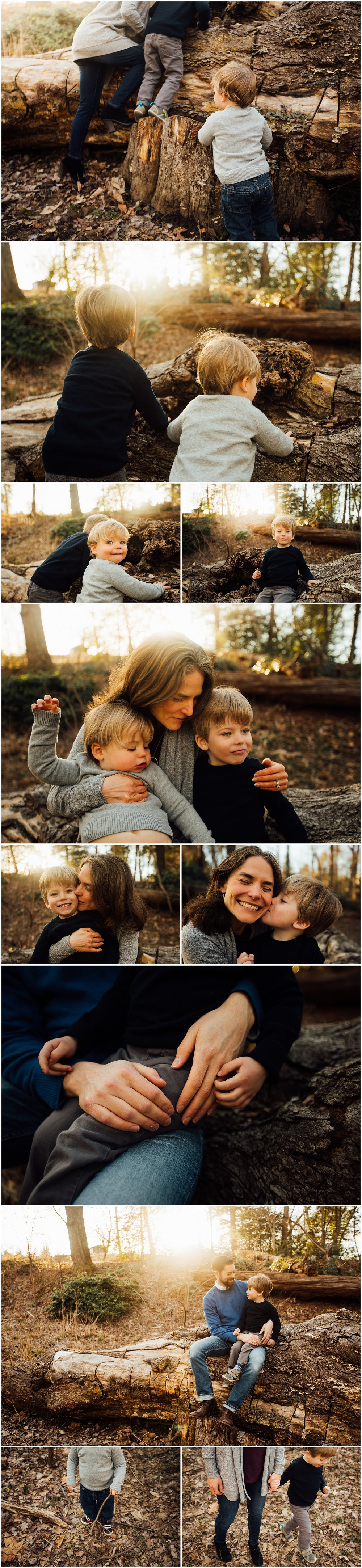 sunlit family session in woods by Huntsville and Madison Alabama family photographer Rachel K Photo