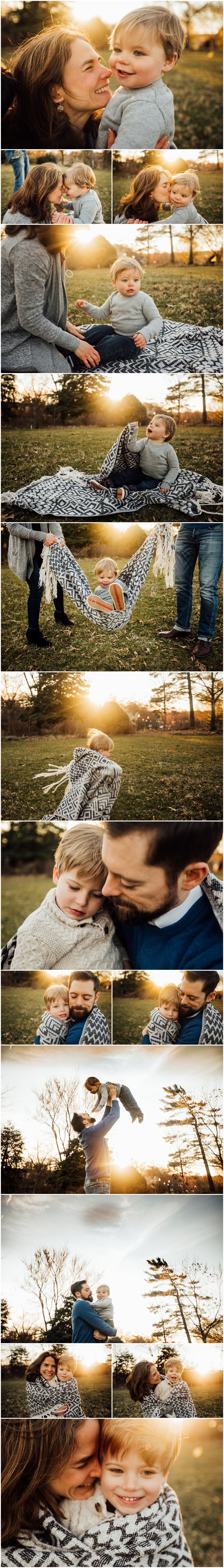 sunlit family session in field with two boys by Huntsville and Madison Alabama family photographer Rachel K Photo