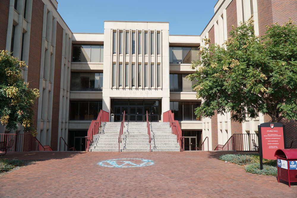 The east-facing entrance to Sturm Hall.