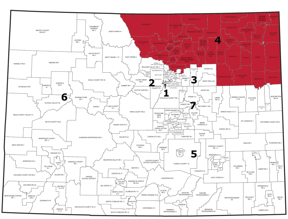 Region 4: St. Vrain Valley, Brighton 27J, and Districts in Northeast counties (Larimer, Weld, Morgan, Logan, Sedgwick, Phillips, Yuma, and Washington Counties)