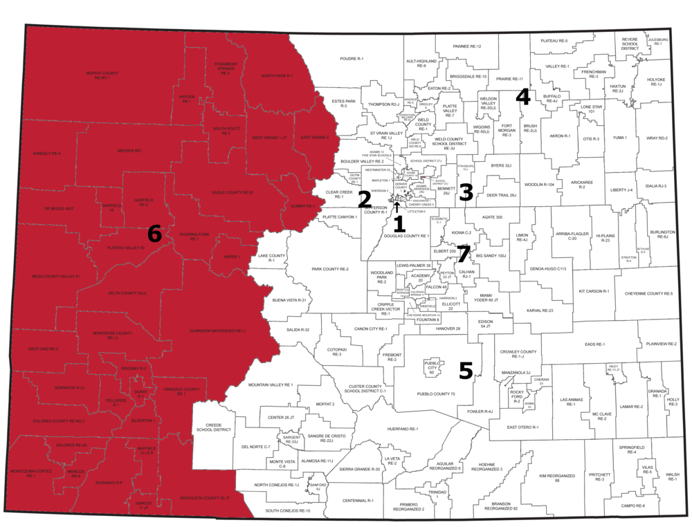 Region 6: Districts in Western Slope Counties (Moffat, Routt, Jackson, Rio Blanco, Eagle, Garfield, Mesa, Pitkin, Montrose, Delta, Dolores, Montezuma, San Miguel, Ouray, LaPlata, San Juan, Gunnison, Hinsdale, Archuleta, Grand, and Summit counties)