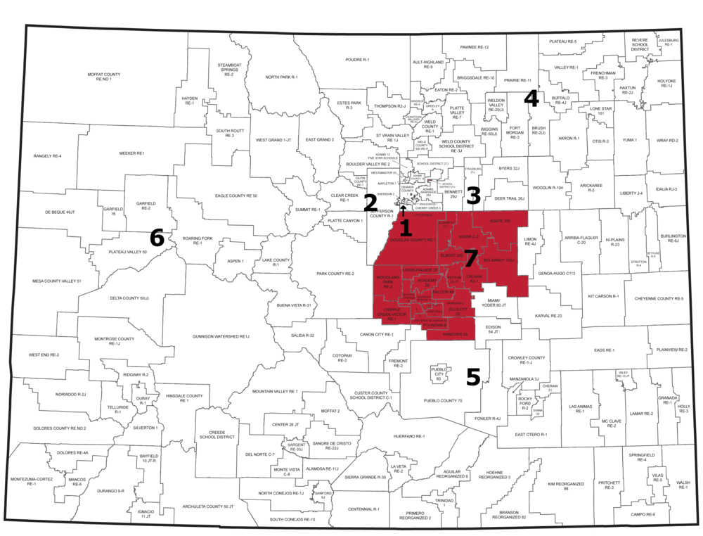 Region 7: Districts in Douglas, El Paso, Elbert, and Teller Counties