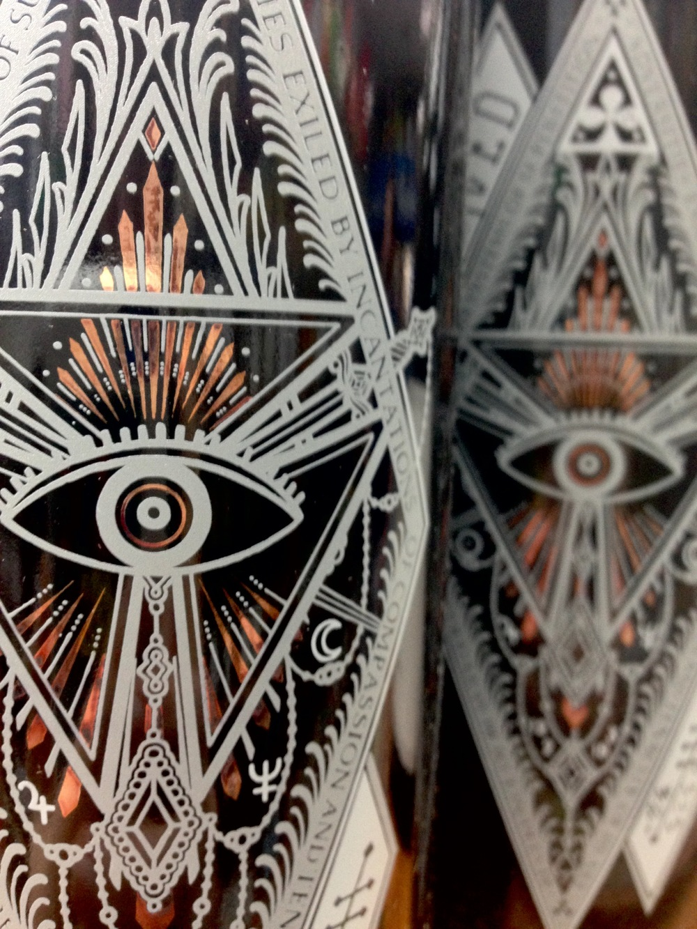 Beautiful art spotted on some bottles in Orlando. Ojo de Dio, anyone?
