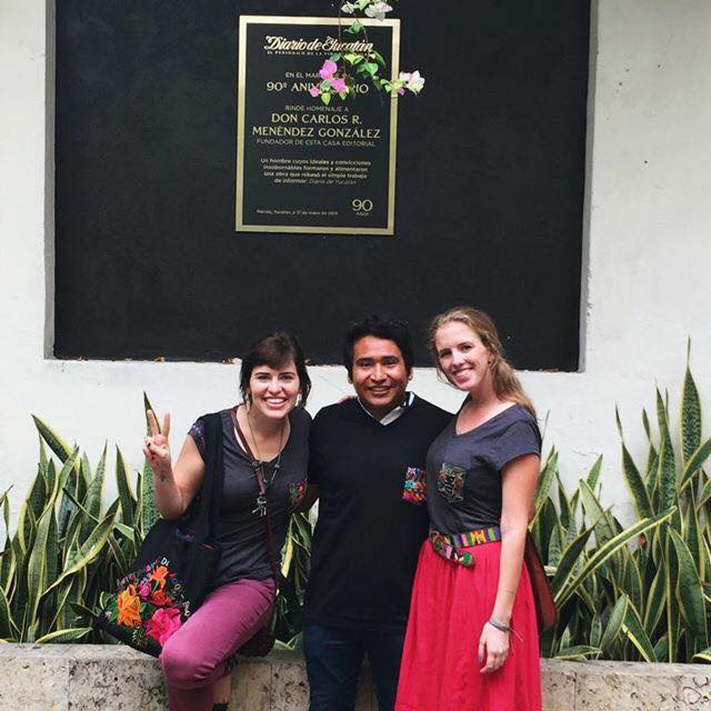 Mandi & Allie with reporter, Abraham Bote from Diario de Yucatán, wearing his new YAXHA Bordados pocket t-shirt by Ko'ox Boon. (Yes, Allie and I are wearing the same shirts in both interviews.)