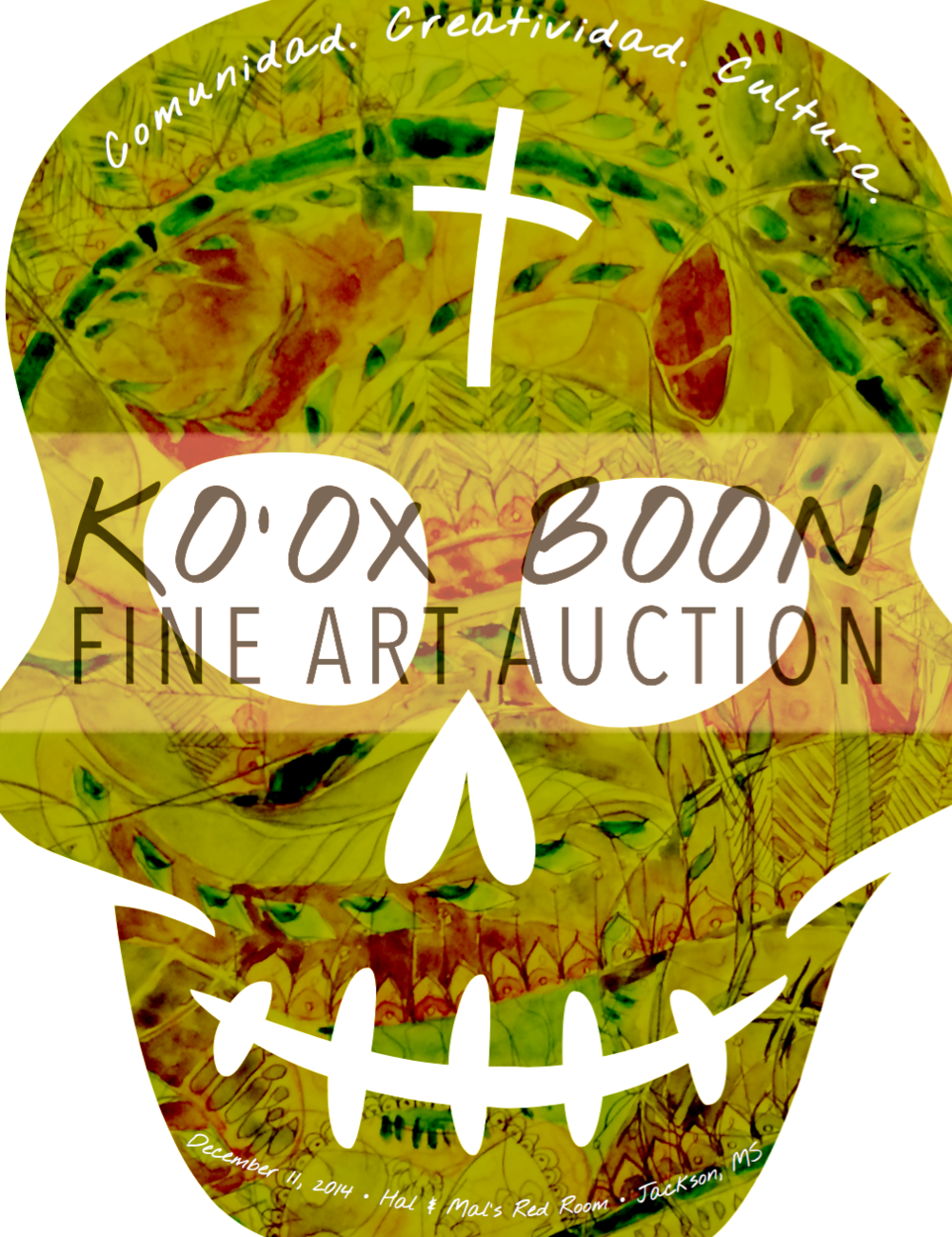 First annual Ko'ox Boon art auction catalog, Created by Kristen Lucas, Jackson, Mississippi, December 2014