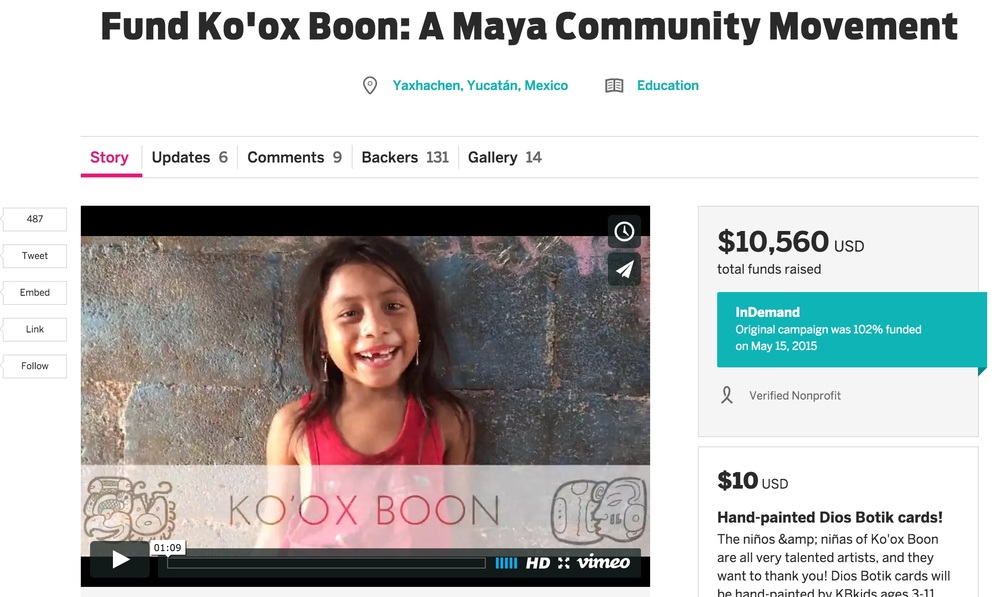 Fully-funded Indiegogo campaign which established Casa YAXHA, a community center, and funded Camp Ko'ox 2015, May 2015.