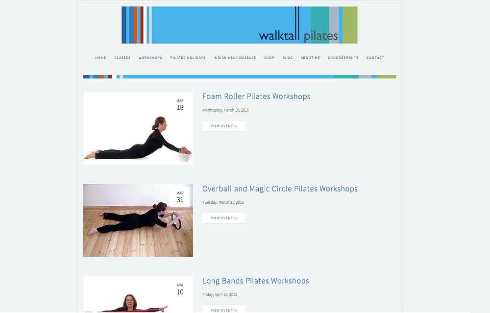 page with list of classes available for pilates class in bristol with company logo