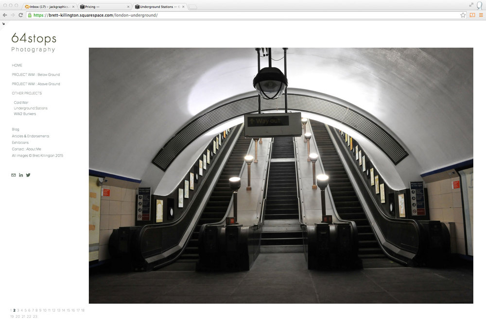 website design for photograph of the underground in London