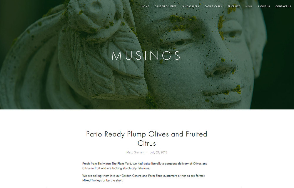 website page for a blog with large image of a green garden statue