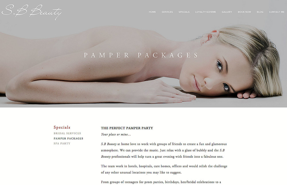 photograph of page for beauty treatments model lying on her front