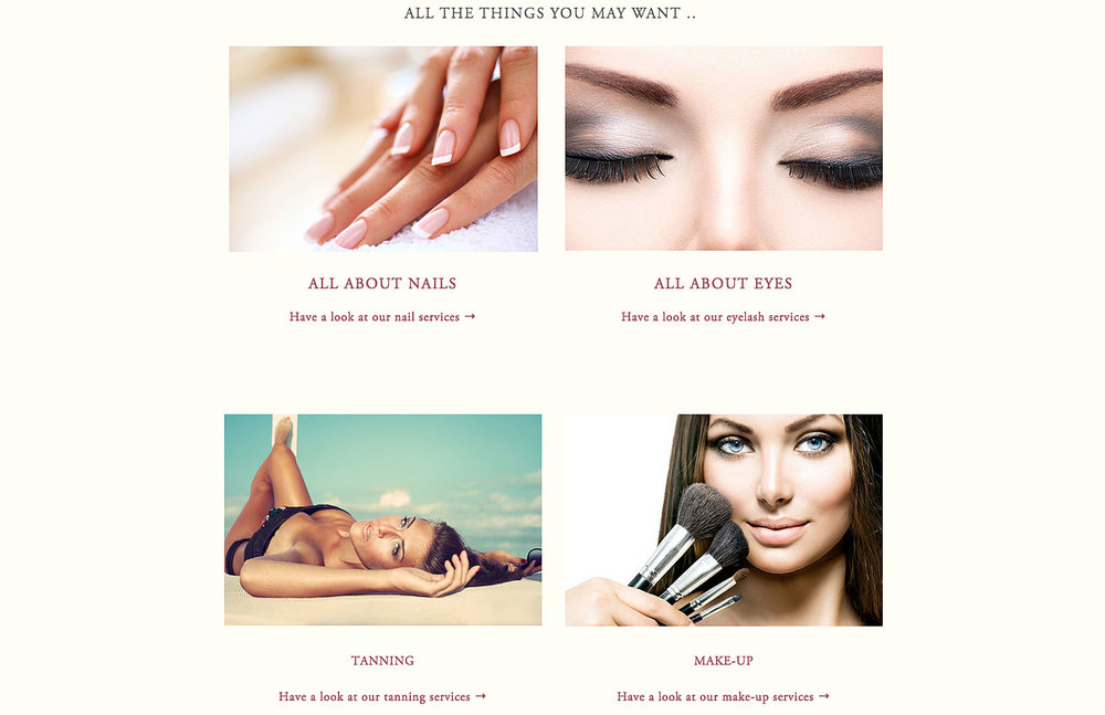 4 images of different beauty treatments with nails, eyes, tanned woman and lady applying make-up