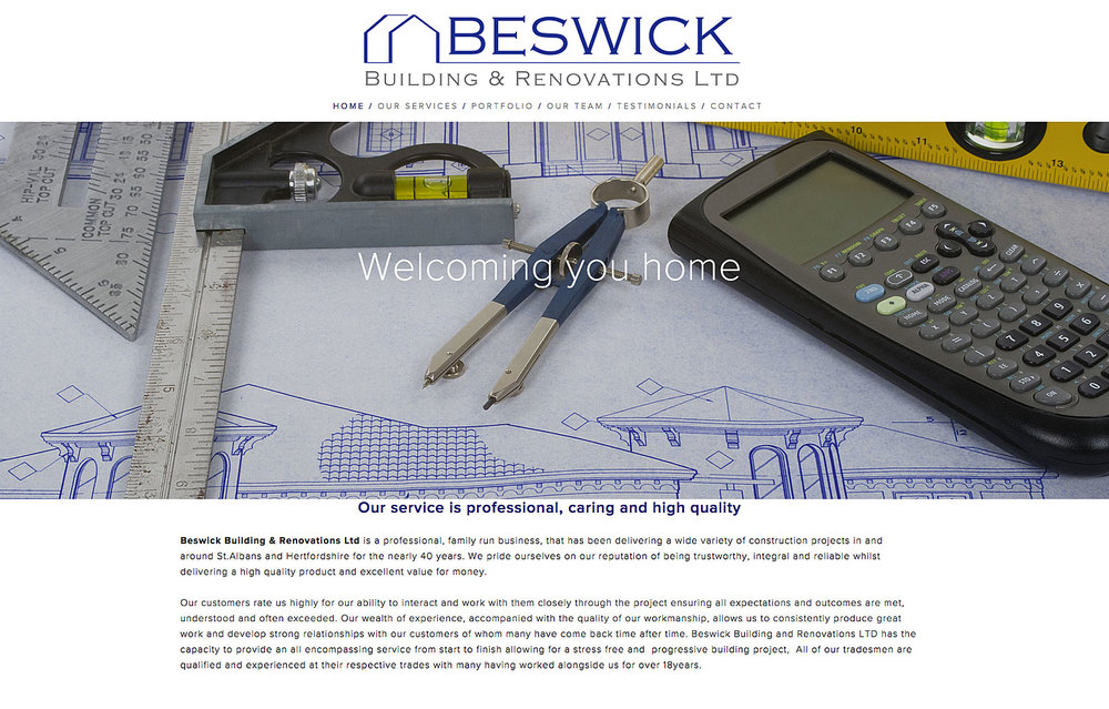 home page for building company with large image of architecture design tools