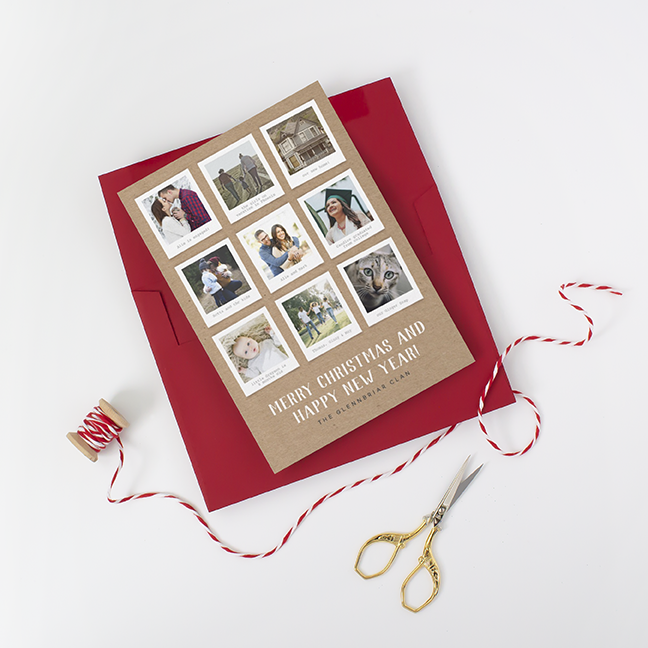 Kraft Paper Polaroid Photo Holiday Card