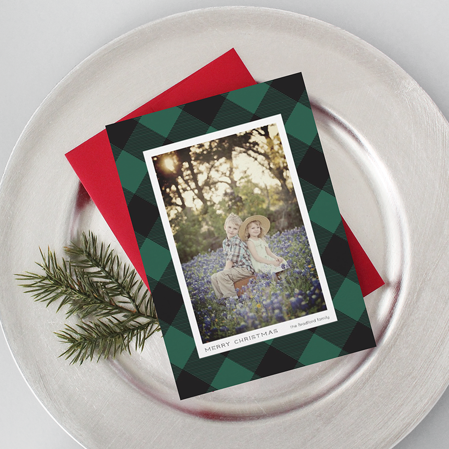 Green Black Buffalo Check Plaid Holiday Card