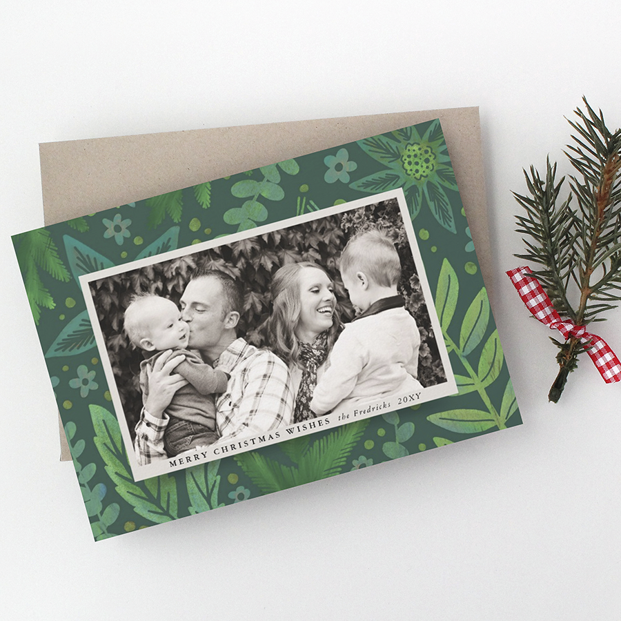 Painterly Green Botanical Photo Frame Christmas Card