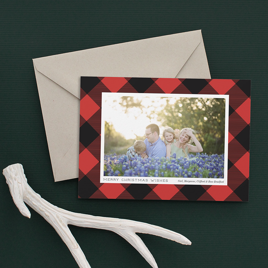 Red Buffalo Check Holiday Photo Card