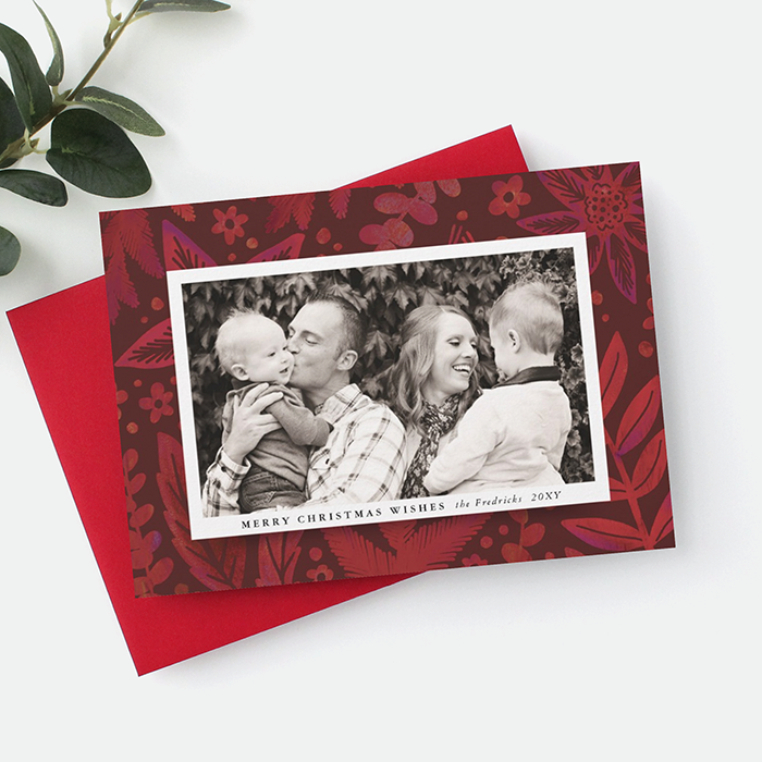 Painterly Red Botanical Photo Frame Christmas Card