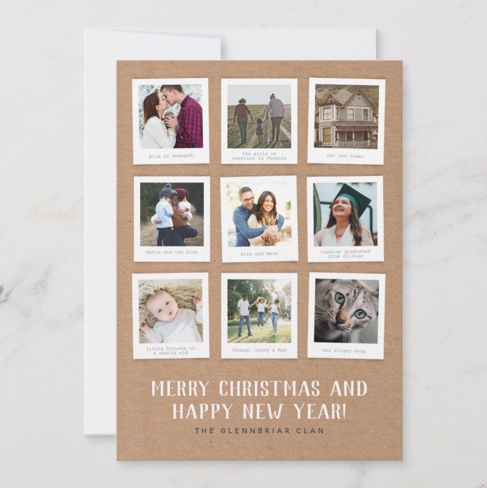 This nine photo card feels a little rustic with the kraft paper background and a little vintage with the Polaroid style photo frames. It's a great choice when you can't choose one photo or you never got around to a family portrait session and you'd rather use your best shots of the year from Instagram.   Kraft Memory Book by 2birdstone