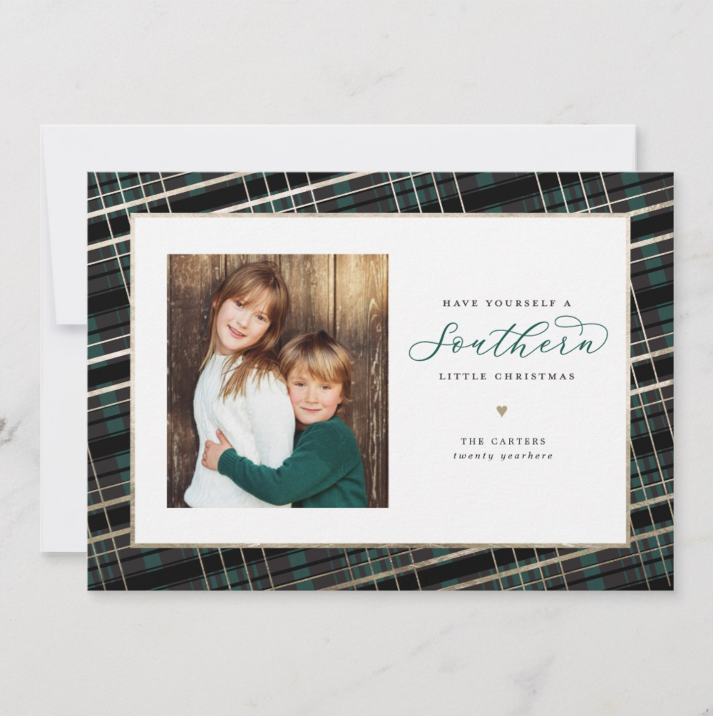 Classic plaid gets a charming update with this Christmas card made for those living in the South. Deep green and black plaid with a faux gold foil accent feels modern and refined.   Southern Christmas by Banter & Charm