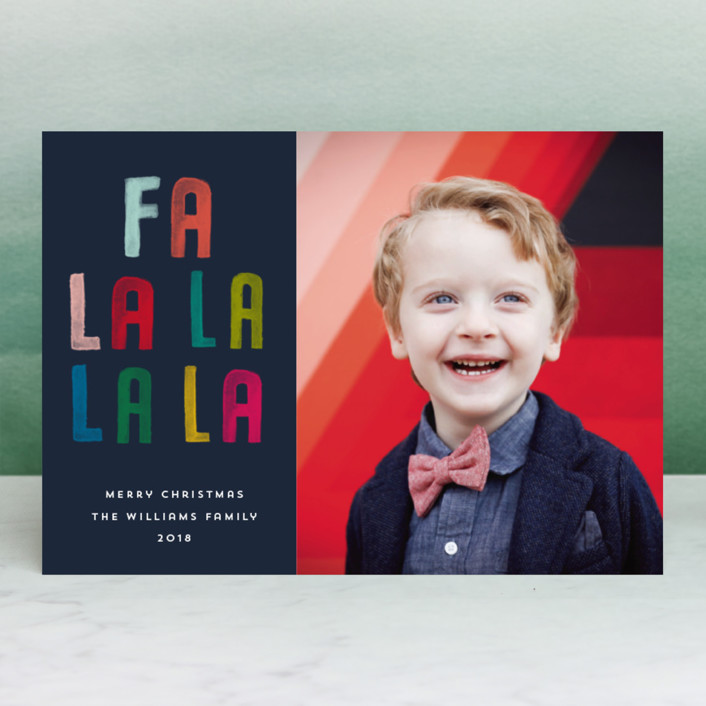 Textured and rainbow colored text give this modern holiday card a fun and fresh feeling.  Fa La La La La by Paper Dahlia