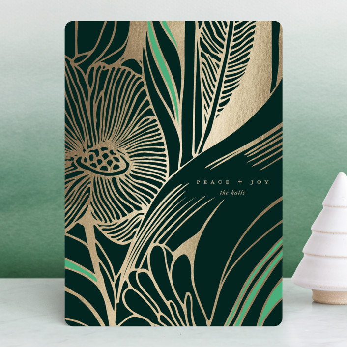 Art nouveau style florals get luxe with fine type and swatch of gold foil.  Wintergarden by Kelli Hall
