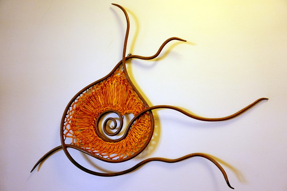 Wall Sculpture in Rusted Wrought Iron and Hand-Knitted Merino Wool