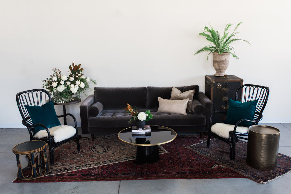 Furniture with pillows, rugs and poufs: $1,015  Furniture only: $665  ***Potted plants, vases of flowers, bowls of fruit and books are not included.