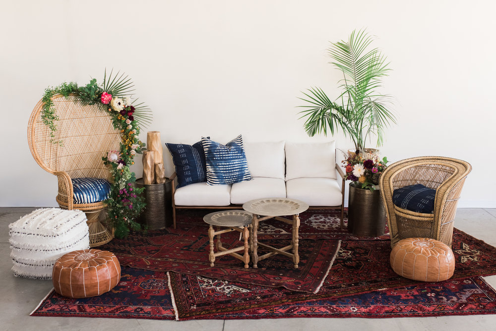 Furniture with pillows, rugs and poufs: $1,325  Furniture only: $605  ***Potted plants, vases of flowers, bowls of fruit and books are not included.