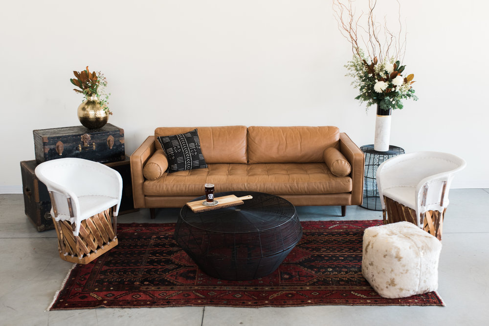 Furniture with pillows, rugs and poufs: $780  Furniture only: $630  ***Potted plants, vases of flowers, bowls of fruit and books are not included.