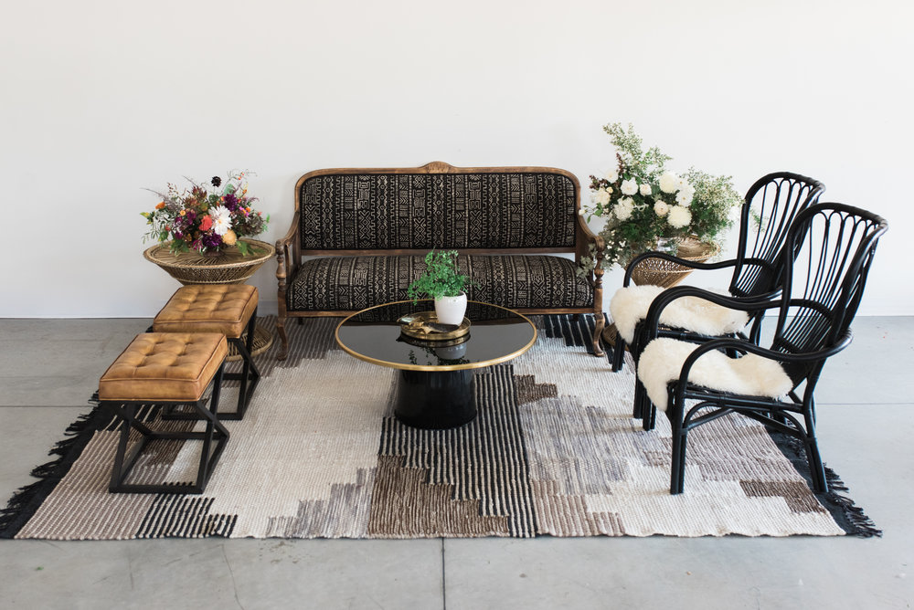 Furniture with pillows, rugs and poufs: $855  Furniture only: $625  ***Potted plants, vases of flowers, bowls of fruit and books are not included.