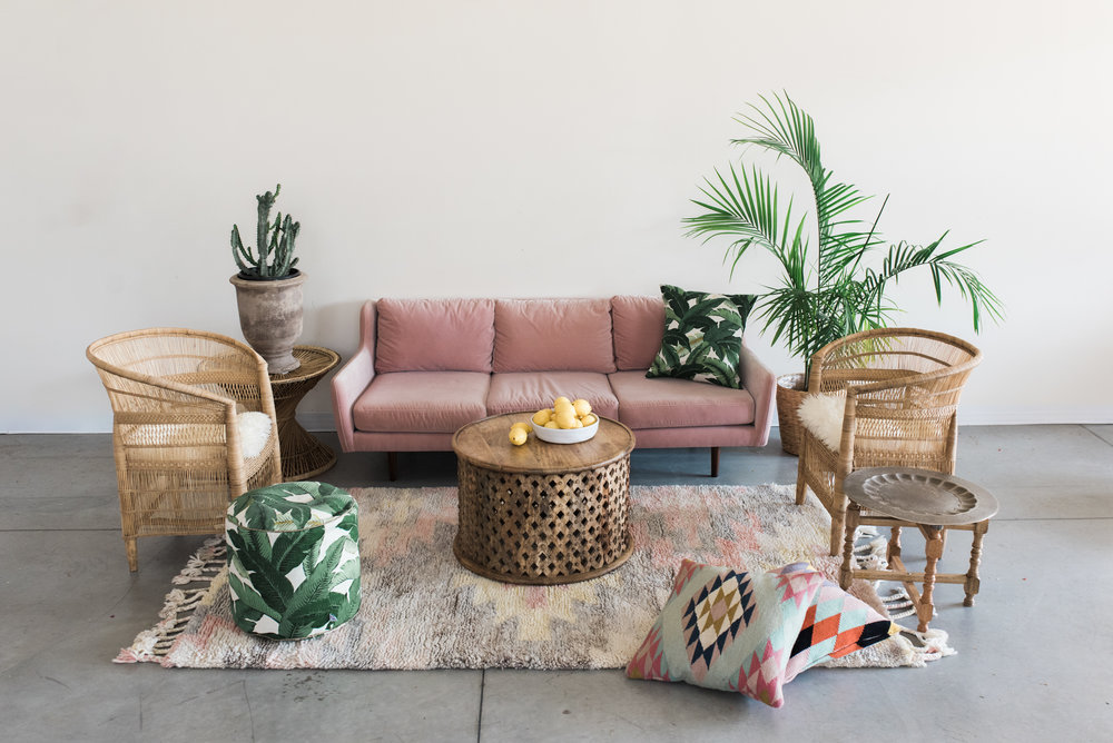 Furniture with pillows, rugs and poufs: $795  Furniture only: $555  ***Potted plants, vases of flowers, bowls of fruit and books are not included.