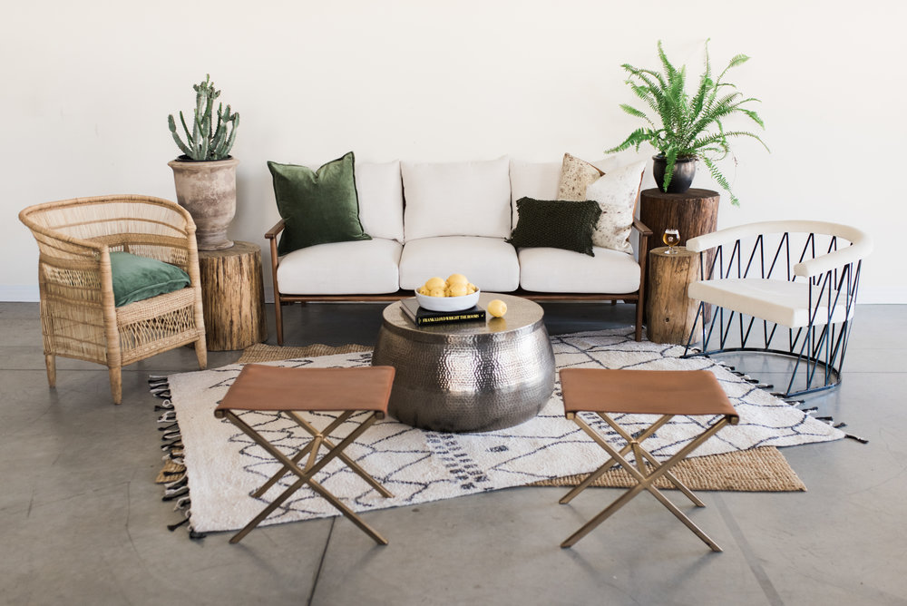 Furniture with pillows, rugs and poufs: $1,000  Furniture only: $690  ***Potted plants, vases of flowers, bowls of fruit and books are not included.