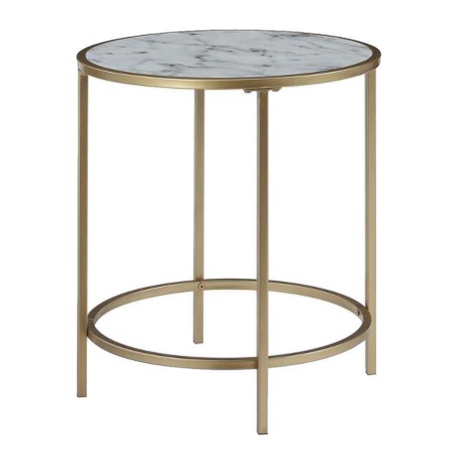 Marble and Gold Side Table - Round