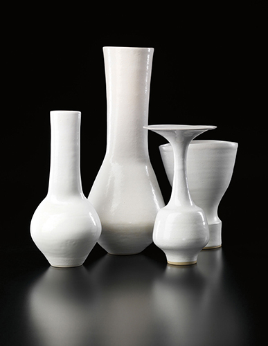 Lucie Rie vases with white glaze