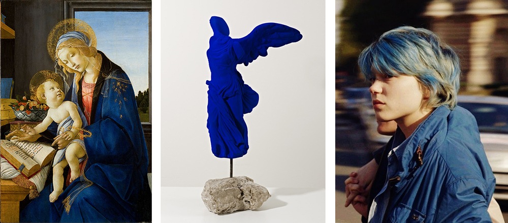 left:  The Virgin and Child or The Madonna of the Book  by Sandro Botticelli, 1480; middle: Winged Victory, Yves Klein, 1962; right:  Léa Seydoux in  Blue Is The Warmest Color , 2013