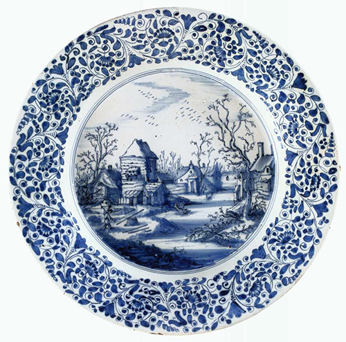 Dish with a Winter Landscape 1650. Tin-glazed earhtenware, diameter 32 cm. Rijksmuseum, Amsterdam