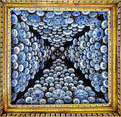 The ceiling of former Santos Palace in Portugal was decorated with 260 porcelain plates from China's Ming and Qing dynasties