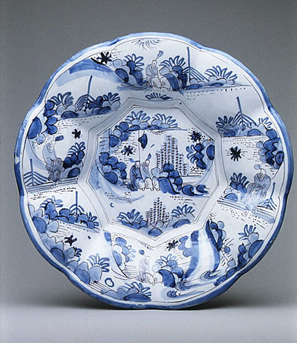 Dish with figure in a landscape, late 17th century, Delftware