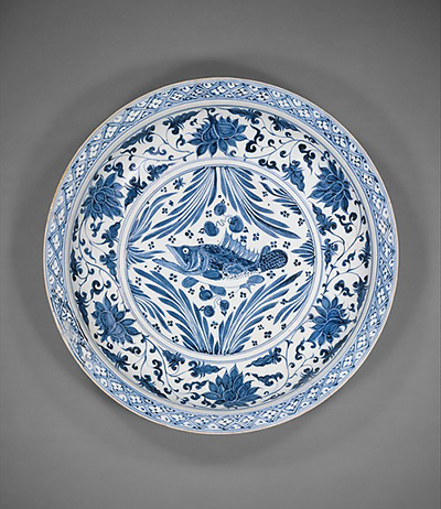 Plate with carp, 14th century, porcelain