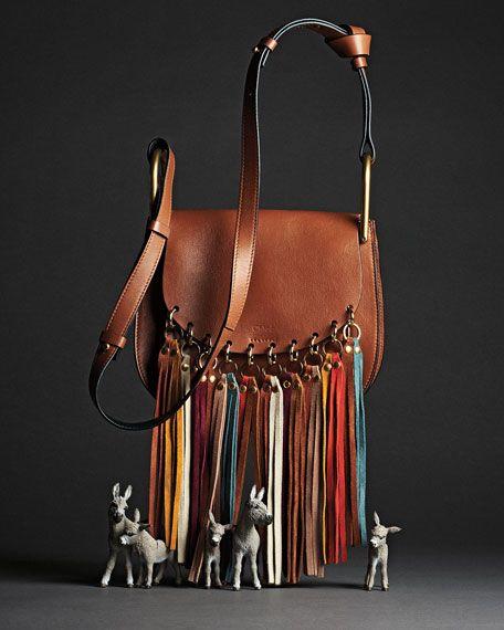 Hudson Fringe-Trim Leather Shoulder Bag by Chloé