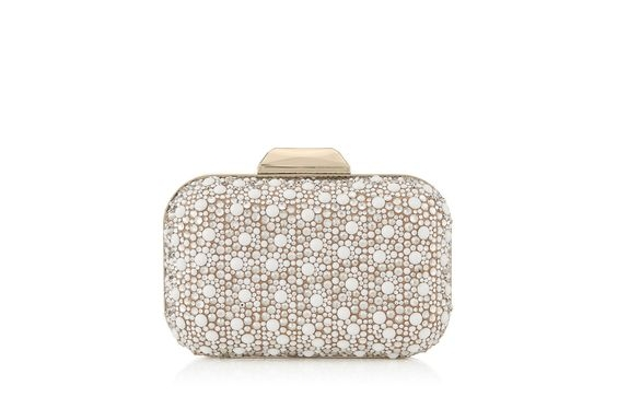 Jimmy Choo 'CLOUD' White Suede with Crystal Mix Clutch Bag