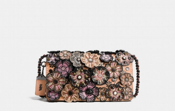 Embellished Tea Rose Applique Dinky Crossbody in Glovetanned Leather by 'COACH'