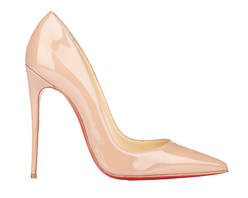 "Christian Louboutin ""So Kate"" Pumps in nude patent leather."