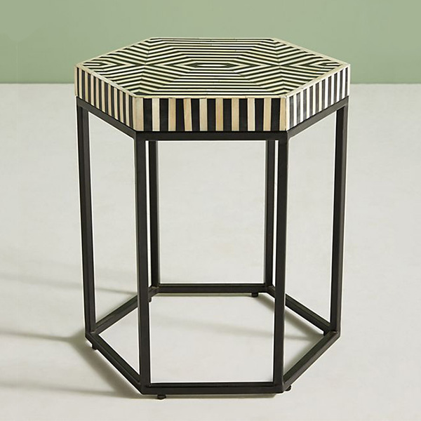ANTHROPOLOGIE HEXAGONAL INLAY SIDE TABLE